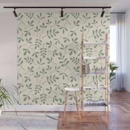 Green on Cream Assorted Leaf Silhouette Pattern Wall Mural