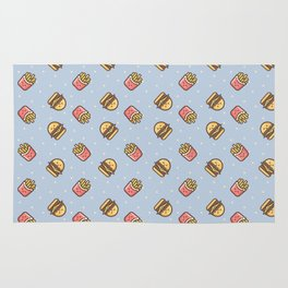 Cute pink brown blue funny fries burger food triangles pattern Rug