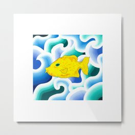 Yellow Fish with Wave (Babel with Wave) Metal Print