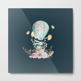 Whimsical Bunny in a Balloon Watercolor Design Metal Print