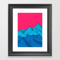 Mountains under the pink sky Framed Art Print
