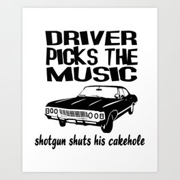 Supernatural Show Driver Picks The Music Art Print
