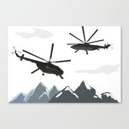 Black Helicopters in the Mountains Canvas Print
