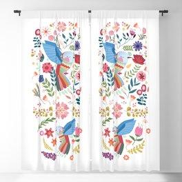 Folk Art Inspired Hummingbird In A Burst Of Springtime Blossoms Blackout Curtain