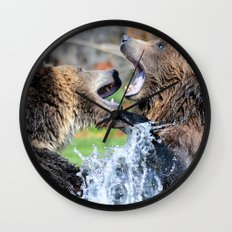 Sparring Grizzly Bears Wall Clock