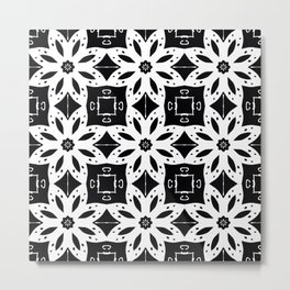 Black and White Floral Patterns Metal Print