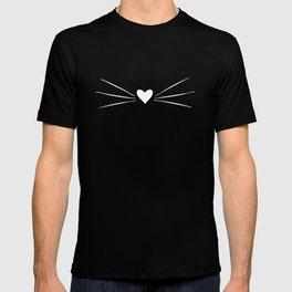 Cat Heart Nose & Whiskers White on Black T-shirt