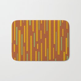 Interrupted Lines Mid-Century Modern Pattern in Mustard Yellow, Ochre, Green, and Clay Bath Mat