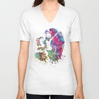 beauty and the beast V-neck T-shirts featuring Beauty and the Beast by Bitter Moon