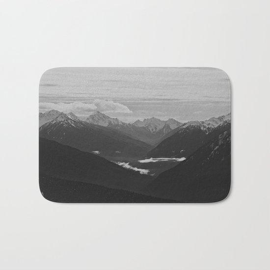 Mountain Landscape Black and White Bath Mat