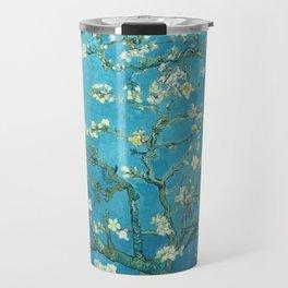 Vincent van Gogh Blossoming Almond Tree (Almond Blossoms) Light Blue Travel Mug