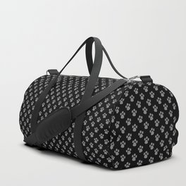 Tiny Paw Prints Grey on Black Pattern Duffle Bag