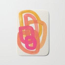 Funky Retro 70' Style Pattern Orange Pink Greindent Striped Circles Mid Century Colorful Pop Art Bath Mat