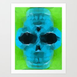 psychedelic skull art geometric triangle abstract pattern in blue and green Art Print