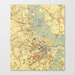 Vintage Map of Savannah Georgia (1942) Canvas Print
