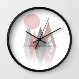 Raspberry Frost Mountains Wall Clock
