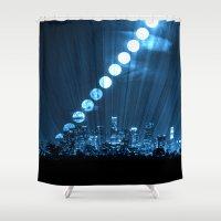 moonrise Shower Curtains featuring moonrise  by yahtz designs