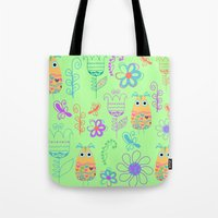 owls Tote Bags featuring Owls by luizavictoryaPatterns