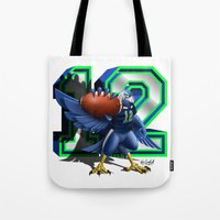 seahawks Tote Bags featuring 12thMan by Dreamstate Design
