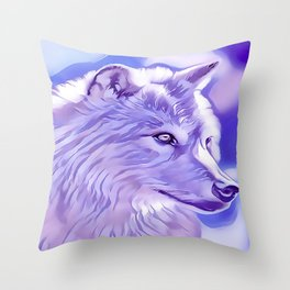 The Silver Wolf Throw Pillow