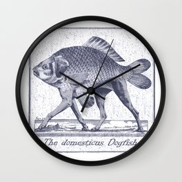 IF FISHES HAD LEGS (navy) Wall Clock