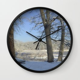 December Snow Delaware River View Wall Clock