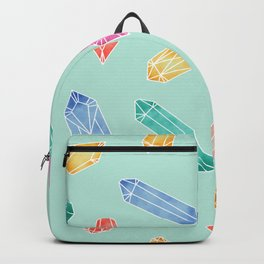 Crystals pattern - Light Green Backpack