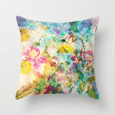 abstract with pink flowers Throw Pillow