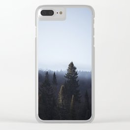 Wanderlusting within the trees Clear iPhone Case