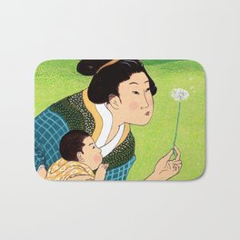 Mrs Hokusai Blows A Dandelion For The Baby Bath Mat