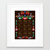 calender Framed Art Prints featuring Folklore Calender 2012 by Elisandra