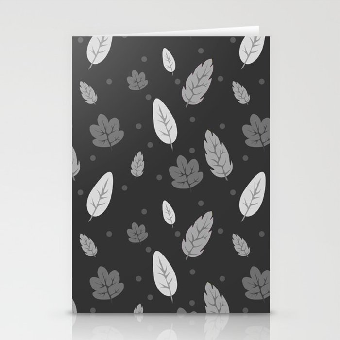 Greyscale Falling Leaves Stationery Cards