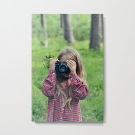 photographing in blueberries and pines Metal Print