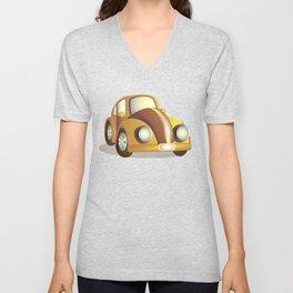 Yellow cartoon car Unisex V-Neck