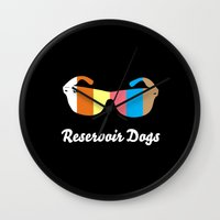 reservoir dogs Wall Clocks featuring Minimal Reservoir Dogs Poster by Mahdi Chowdhury