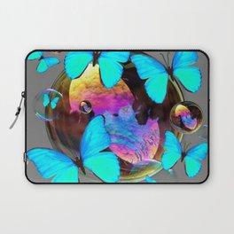 SURREAL NEON BLUE BUTTERFLIES  & SOAP BUBBLES GREY Laptop Sleeve