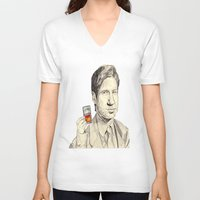 mulder V-neck T-shirts featuring Mulder by withapencilinhand