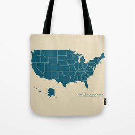 Modern Map - United States of America USA Tote Bag