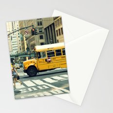 New York school bus Stationery Cards
