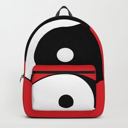 Yin and yang Symbol on red Backpack
