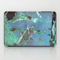 sharks iPad Cases featuring Sharks by Ben Giles