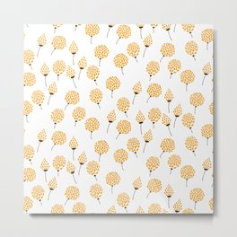 Floral pattern in blue and yellow Metal Print