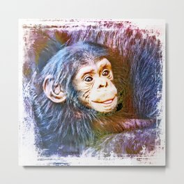 Cute Chimpanzee Baby Metal Print