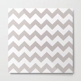 LIGHT GREY AND WHITE CHEVRON PATTERN  Metal Print