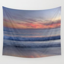 Magical Waves. Square.  Tarifa Beach At Red Sunset Wall Tapestry