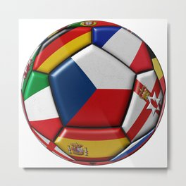 Soccer ball with flag of Czech in the center Metal Print
