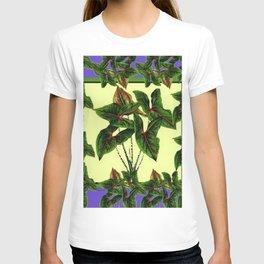 Decorative Lilac & Cream Tropical Botanical Green Foliage T-shirt