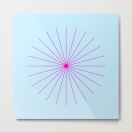 SpikeyBurst - Pastel Blue with Bright Pink Metal Print