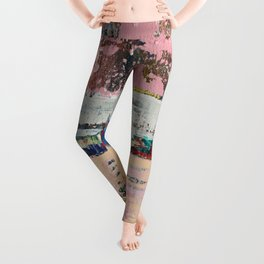 Dogbane Pink Abstract Painting Print Leggings
