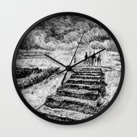 ink Wall Clocks featuring Storm - Ink by Nicolas Jolly